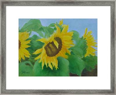 Sunflowers In The Wind Colorful Original Sunflower Art Oil Painting Artist K Joann Russell           Framed Print