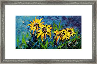 Framed Print featuring the painting Sunflowers by Lyn Olsen