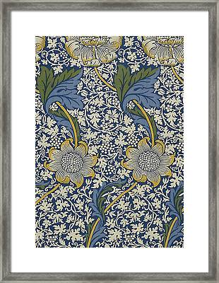 Sunflowers On Blue Pattern Framed Print by William Morris