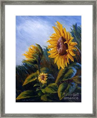 Framed Print featuring the painting Sunflowers On Green Hill Under Blue Sky by Lenora  De Lude