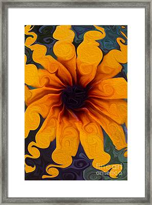 Framed Print featuring the painting Sunflowers On Psychadelics by Omaste Witkowski