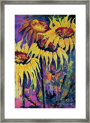 Framed Print featuring the painting Sunflowers On Purple by Lyn Olsen