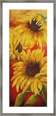 Sunflowers On Red Framed Print