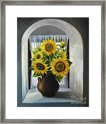 Sunflowers On The Window Framed Print by Kiril Stanchev