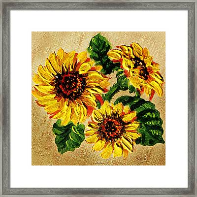 Sunflowers On Wooden Board Framed Print by Irina Sztukowski