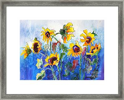 Framed Print featuring the painting Sunflowers by Priti Lathia