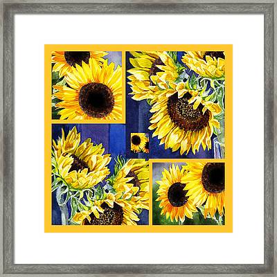 Framed Print featuring the painting Sunflowers Sunny Collage by Irina Sztukowski