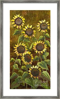 Sunflowers With Gold Leaf By Vic Mastis Framed Print by Vic  Mastis