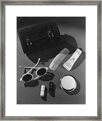 Sunglasses, Lipstick, And A Purse Framed Print