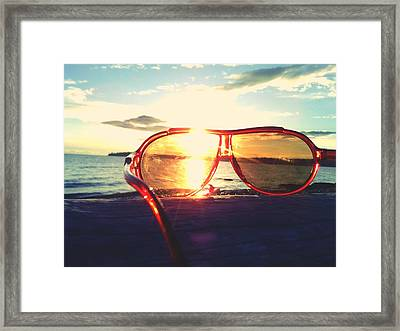 Sunglasses On Beach During Sunset Framed Print by Ashley Stone / Eyeem