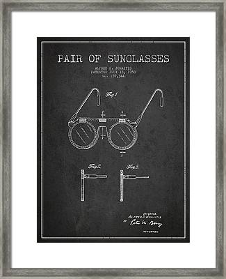 Sunglasses Patent From 1950 - Dark Framed Print
