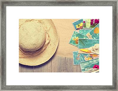 Sunhat And Postcards Framed Print by Amanda Elwell