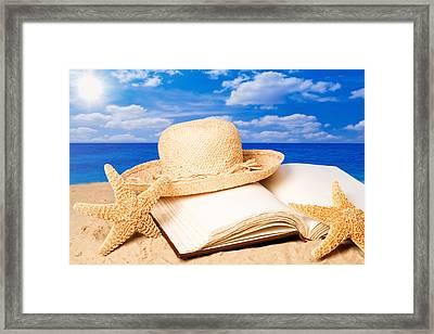 Sunhat In Sand Framed Print by Amanda Elwell
