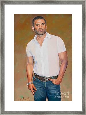Sunil Shetty Portrait 2 Framed Print by Dominique Amendola