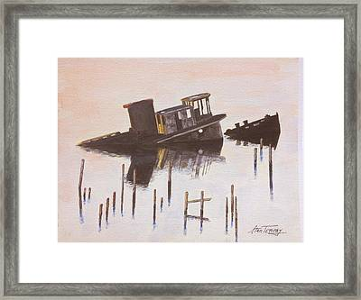 Sunken Boat Framed Print by Stan Tenney