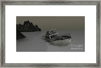 Framed Print featuring the digital art Sunken Boat by Susanne Baumann