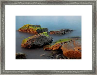 Framed Print featuring the photograph Sunkissed Rocks by Jacqui Boonstra