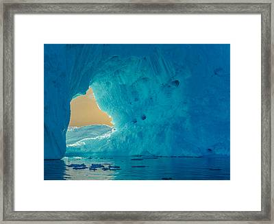 Sunlit Window - Greenland Iceberg Photograph Framed Print