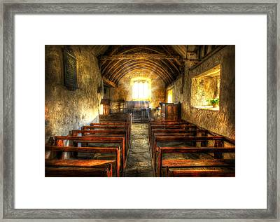 Sunlight Flooding The Ancient Chapel Framed Print