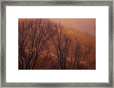 Sunlight From The Setting Sun Makes Ice Framed Print