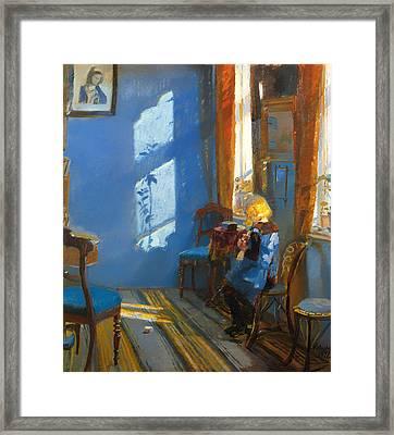 Sunlight In A Blue Room Framed Print