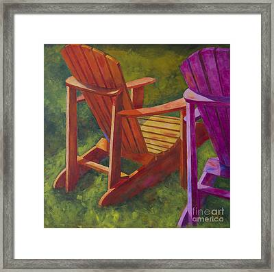 Sunlight On Adirondack Chairs  Framed Print