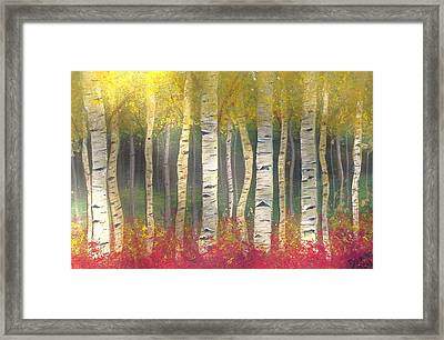 Framed Print featuring the painting Sunlight On Aspens by Carol Duarte