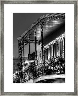 Sunlight On New Orleans Balcony Framed Print