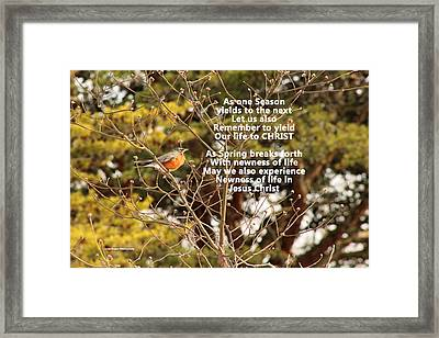 Framed Print featuring the photograph Sunlight On Robin With Poetry by Lorna Rogers Photography