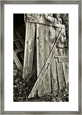 Sunlit Barn Door Framed Print