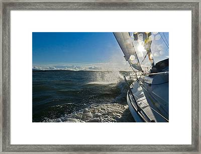 Sunlit Bow Spray Framed Print by Gary Eason