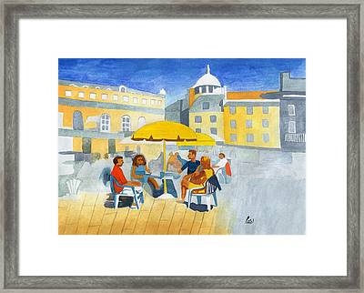 Sunlit Cafe Scene Framed Print by Bav Patel