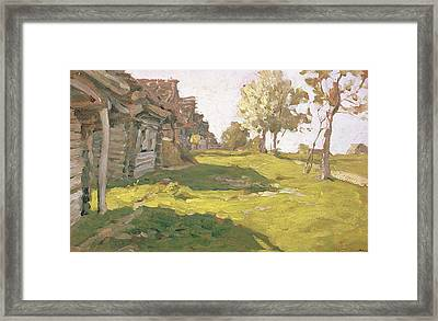 Sunlit Day  A Small Village Framed Print