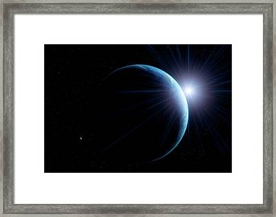Sunlit Earth From Space Framed Print