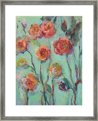 Framed Print featuring the painting Sunlit Garden by Mary Wolf