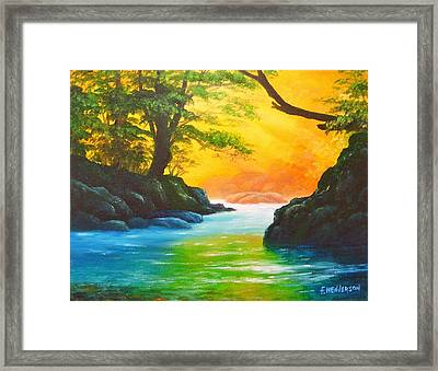 Sunlit Stream Framed Print