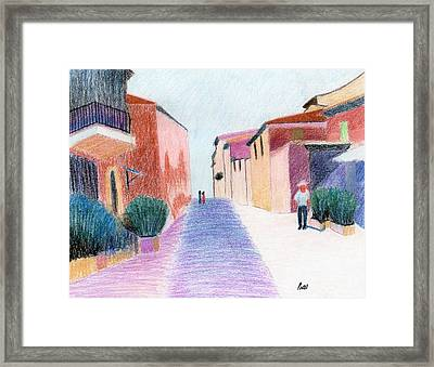 Sunlit Street Scene Framed Print by Bav Patel