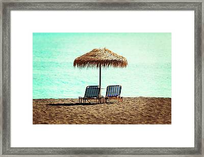 Sunloungers And Parasol Framed Print by Wladimir Bulgar
