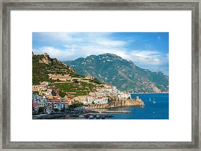 Sunny Amalfi City Framed Print