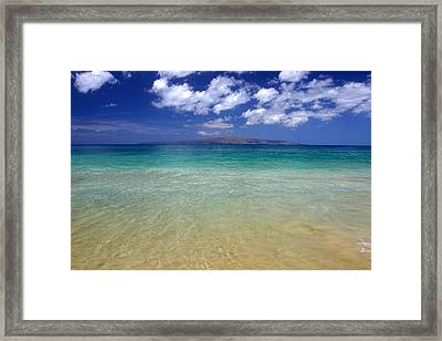 Sunny Blue Beach Makena Maui Hawaii Framed Print by Pierre Leclerc Photography
