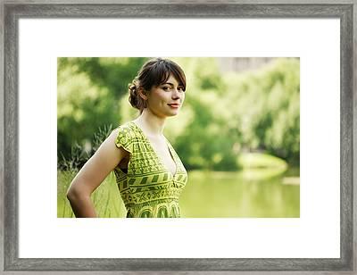 Sunny Day Woman Portait Framed Print by Anna Bryukhanova