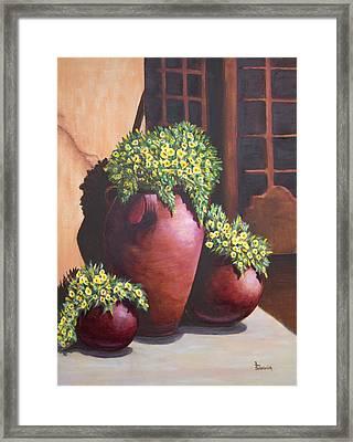 Sunny Flower Pots Framed Print