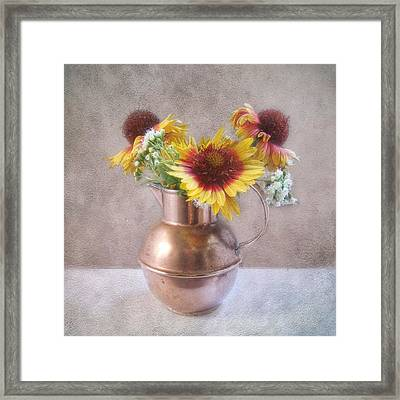 Framed Print featuring the photograph Sunny Treasure Flowers In A Copper Jug by Louise Kumpf