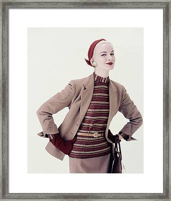 Sunny Harnett In A Suit And Turban Framed Print