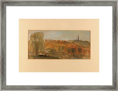 Sunny Landscape With Trees And Monument On A Hill Framed Print by Litz Collection