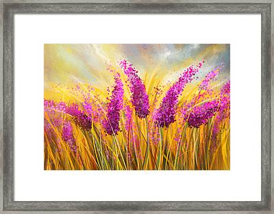 Sunny Lavender Field - Impressionist Framed Print by Lourry Legarde