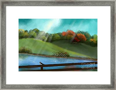 Sunny Meadow By The Water Framed Print by Nancy Long