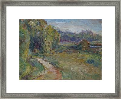Sunny Morning In The Park -wetlands - Original - Textural Palette Knife Painting Framed Print