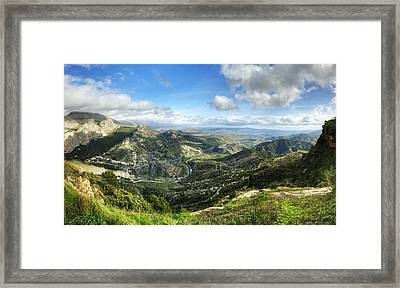 Framed Print featuring the photograph Sunny Mountains View With Picturesque Clouds by Julis Simo