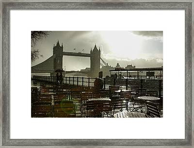Sunny Rainstorm In London - England Framed Print